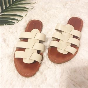 Lucky Brand | White Slip On Sandals Summer 8 1/2